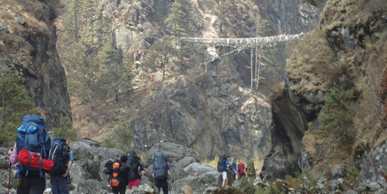 Bridge to Namche from Lukla
