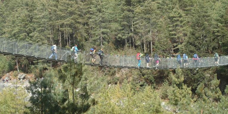Crossing bridge to get in Namche