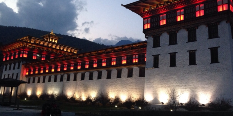 Evening Light in Monastery in Bhutan