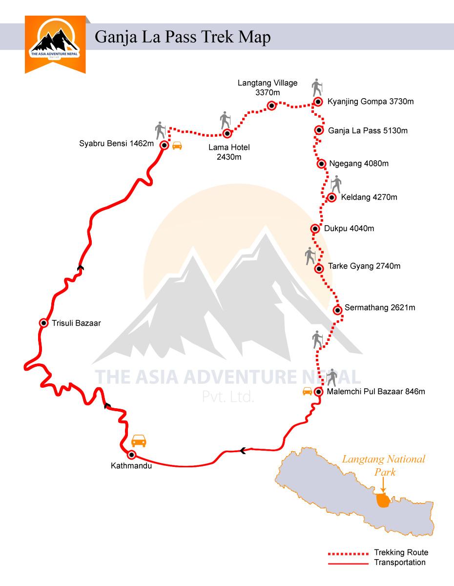 Langtang Ganja La Pass TrekkingTrip Map
