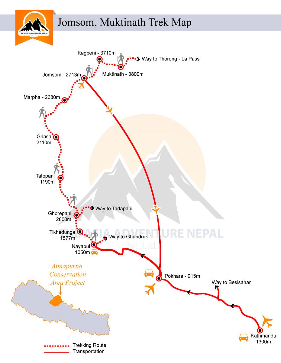 Jomsom Muktinath Trekking Trip Map