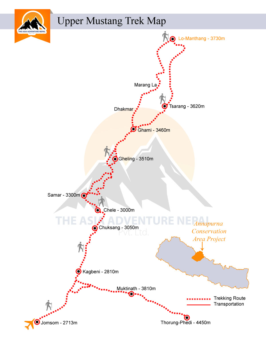 Upper Mustang Trek  Trip Map