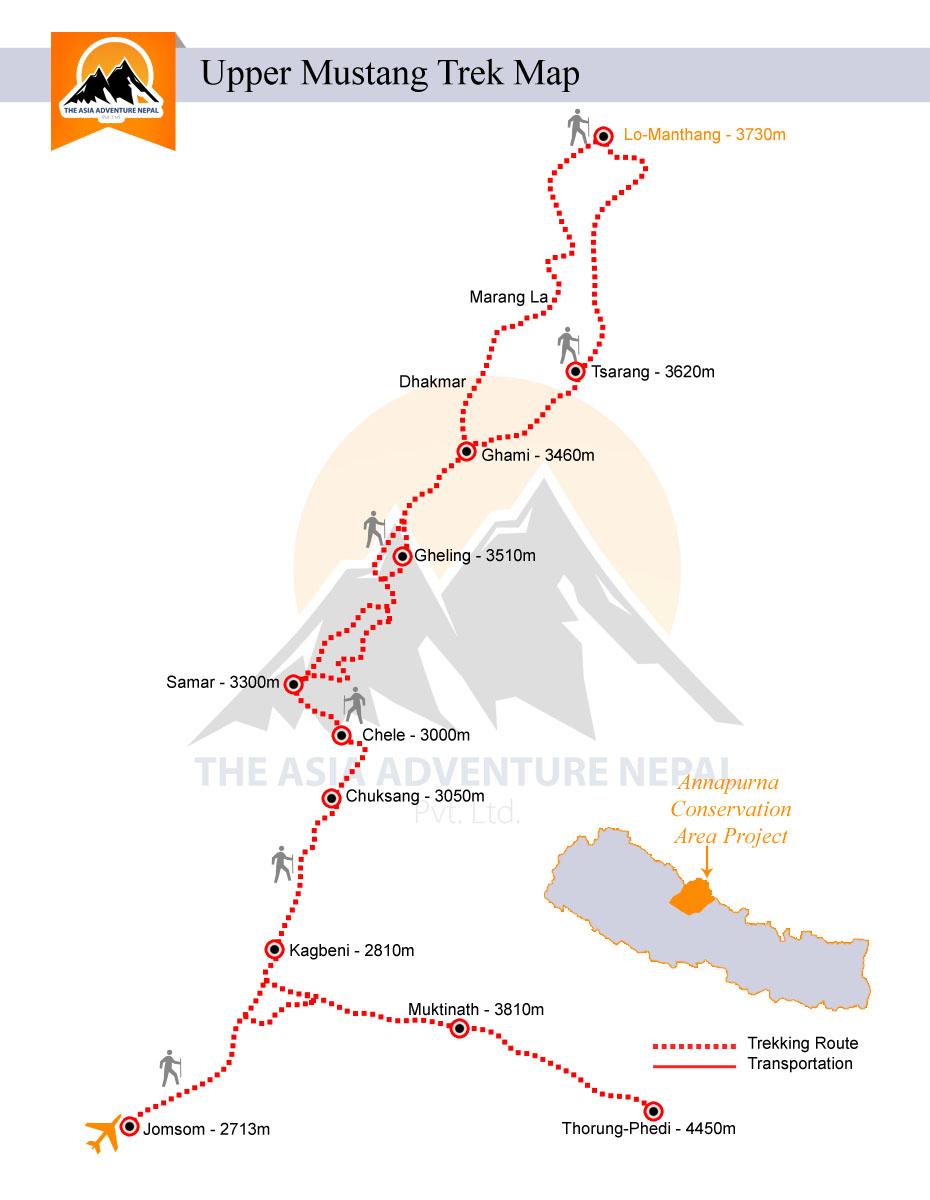 Upper Mustang Trek Trip Map